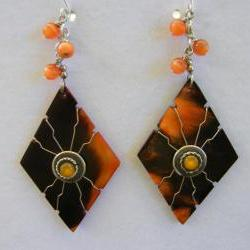 Earrings, Mayan Tribe, Orange Cafe Horn, Diamond, Dangle