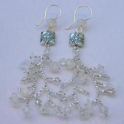 Earrings, Ice Beaded Branch, Fringe,