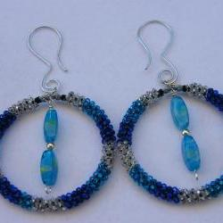 Earrings, Peyote Stitch Bead Hoops, Blue